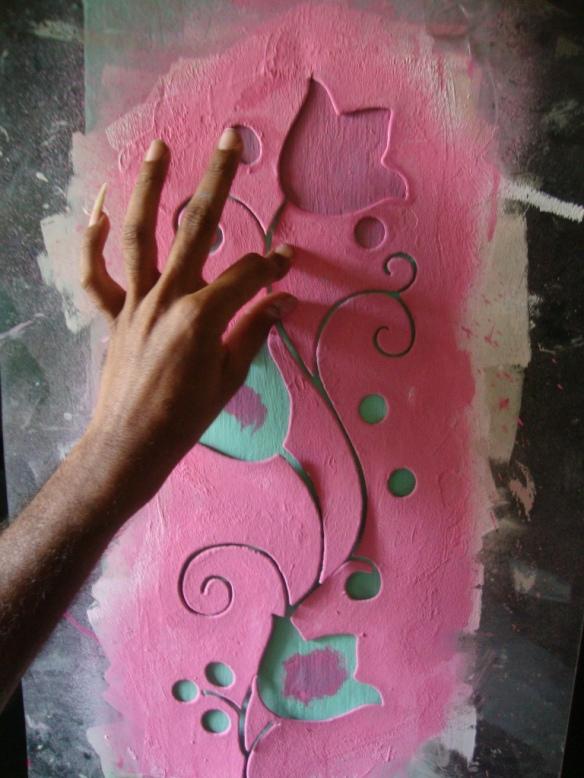 Pink flower stencils