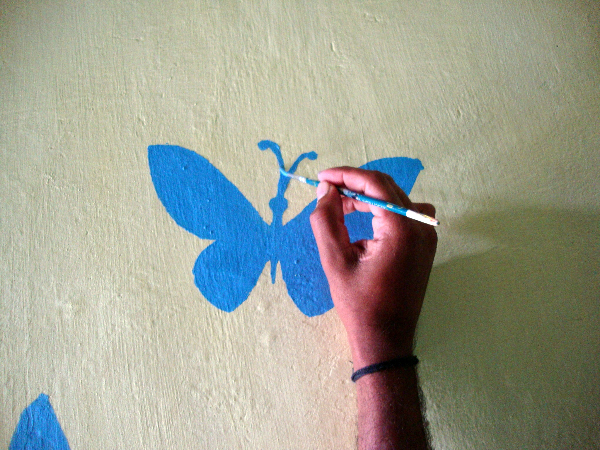 Wall Art – Handmade stenciling a try :-) | M@de by Lakshmi for Butterfly Painting Designs  45gtk
