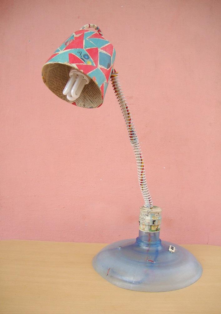 Newspaper m de by lakshmi for Make paper mache lamp shade