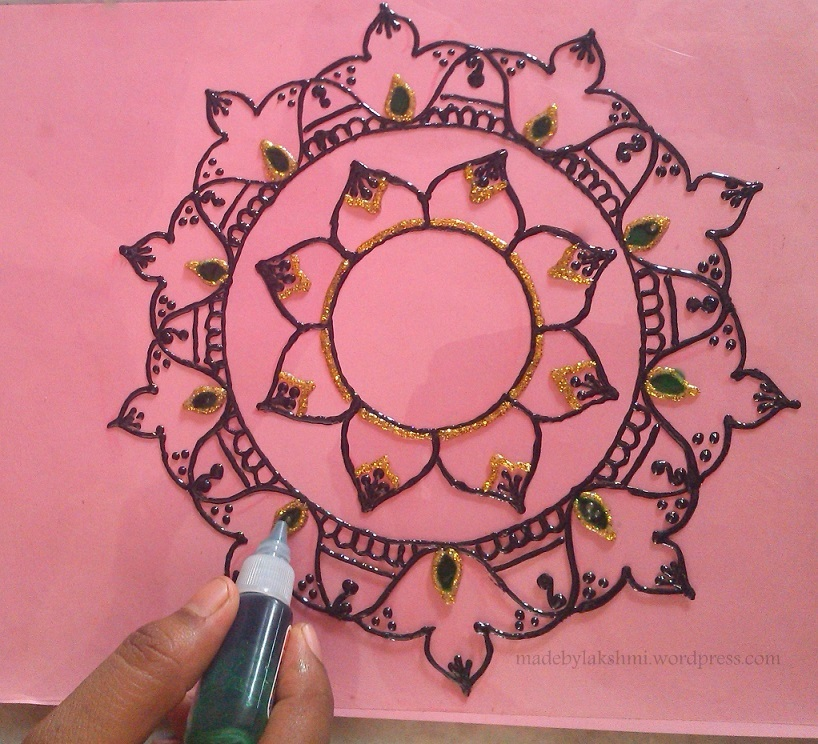 Rangoli Design Glass Paint